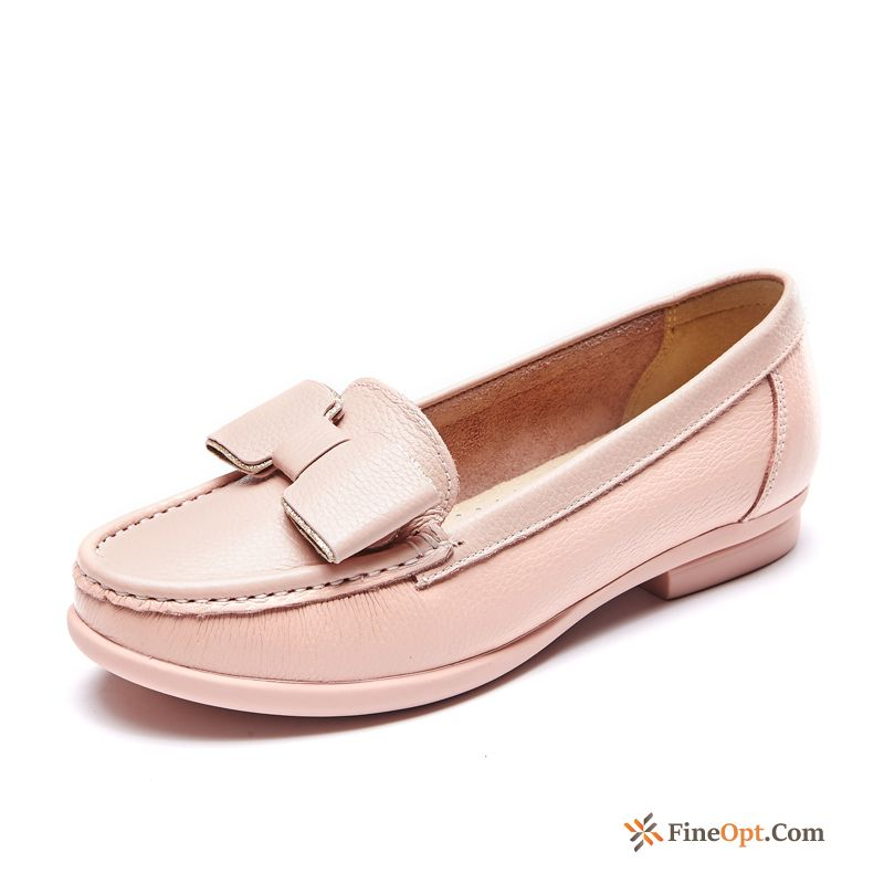 Genuine Leather Bow Pumps Loafers Round Toe New For Sale