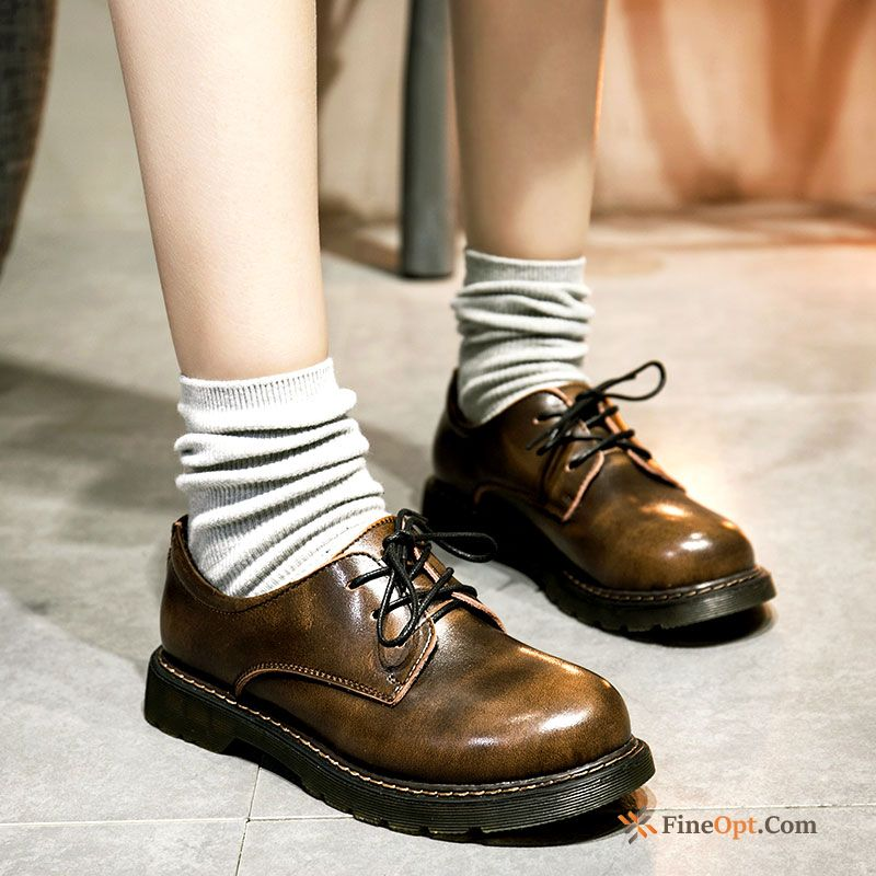 Genuine Leather Round Toe Leather Shoes Lace-up Retro Art Flat