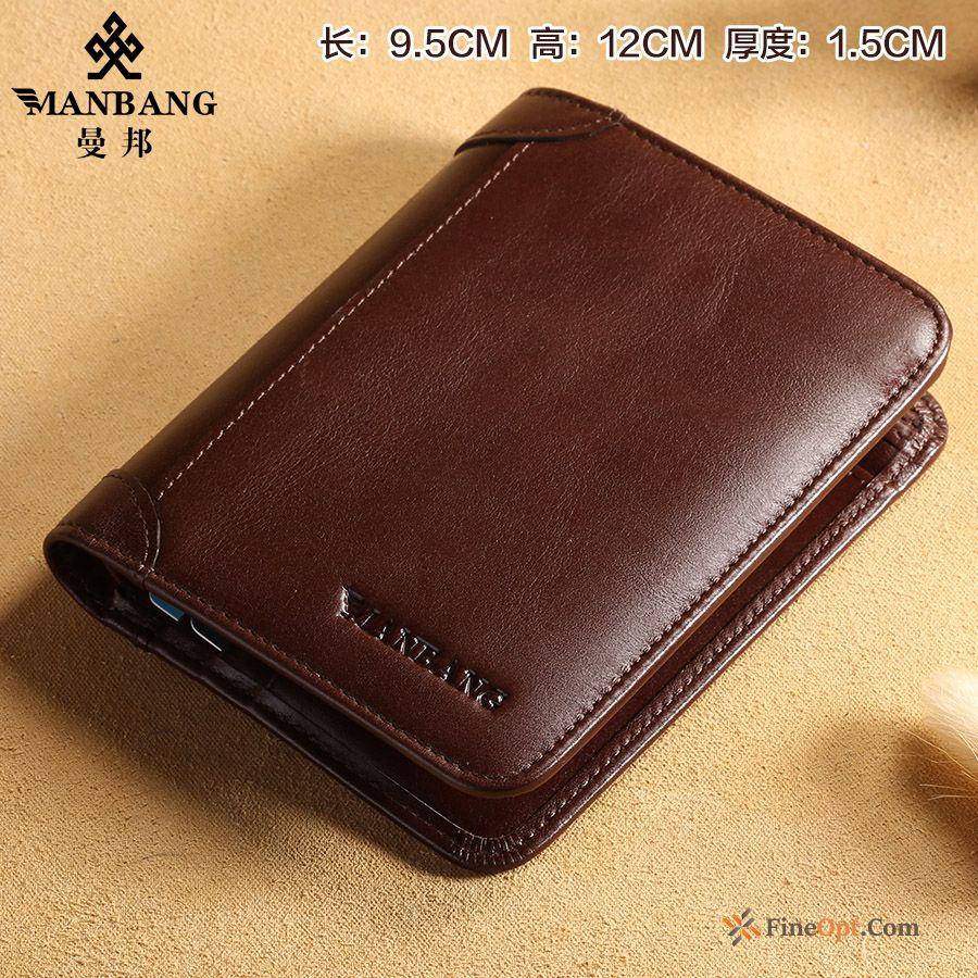 Genuine Leather Wallet Youth Head Layer Men's Short Paragraph Beef Leather Henna Wallets