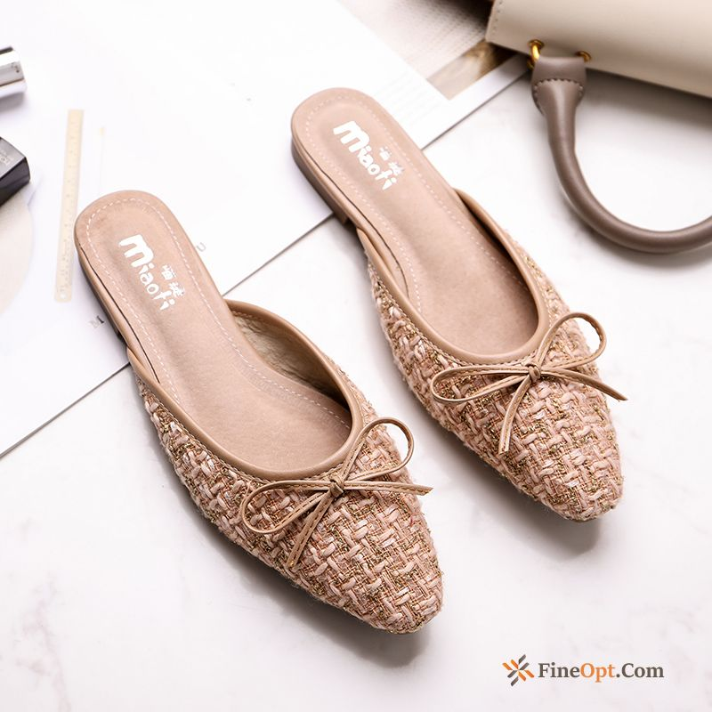 Gold New Outdoor Bow Pointed Toe Summer Sandals Plum Flip Flops Online