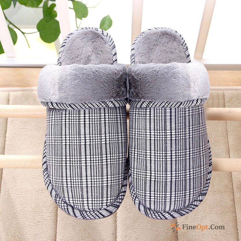 Gray Indoor Autumn Thermal Slippers Winter Men's White Slippers