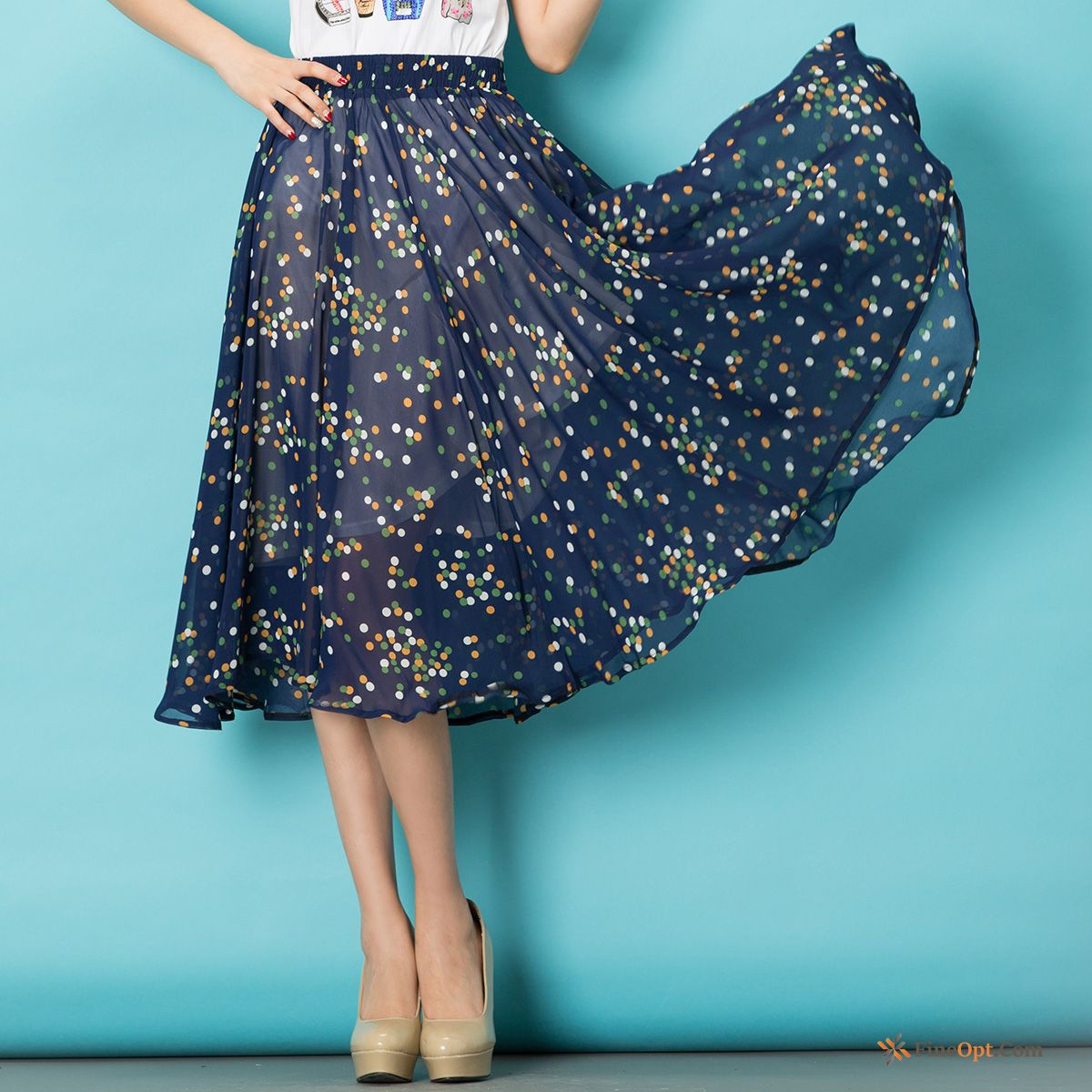 Half Skirt Printing Summer Wave Point All-match Flower Skirt Ivory Skirts Sale