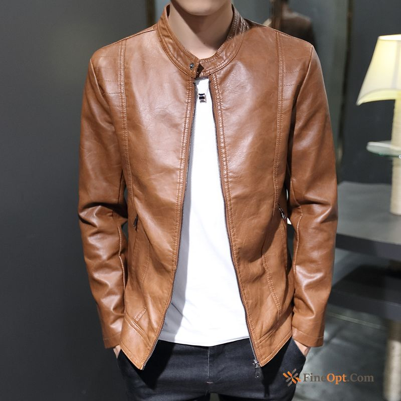 Handsome Autumn Men's Trend Leisure Slim Coat Vermeil Jacket