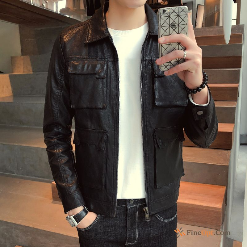 Handsome Youth Coat Slim Black Trend Locomotive Cherry Leather Jacket For Sale
