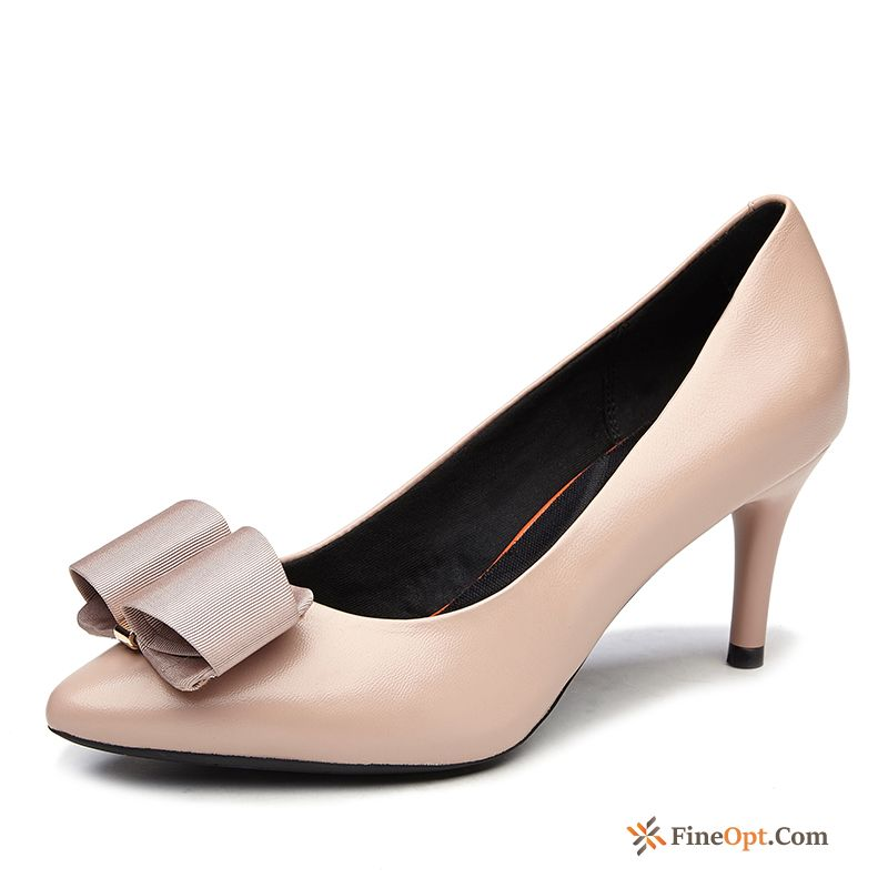 High Heels Fine Fashion Genuine Bow Simple Pumps Online