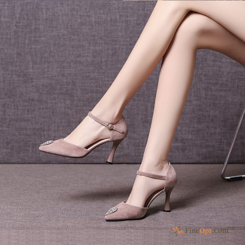 High Heels Genuine Leather Sandals Thin Heels New Pointed Toe Pumps For Sale