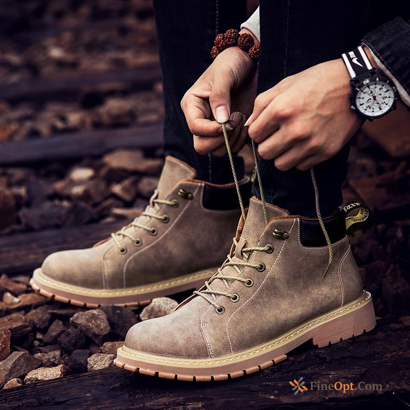 High Top Retro Leather Shoes Winter British Short Boots Desert Boots