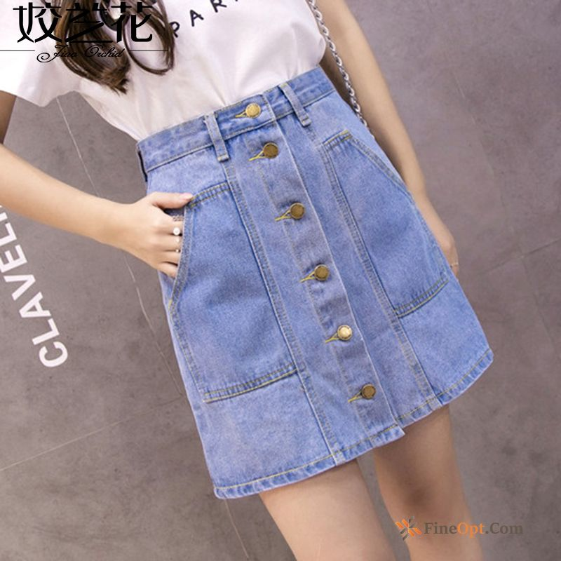 High Waist Denim Skirts Single Row Button Summer A Letter Flower Skirts