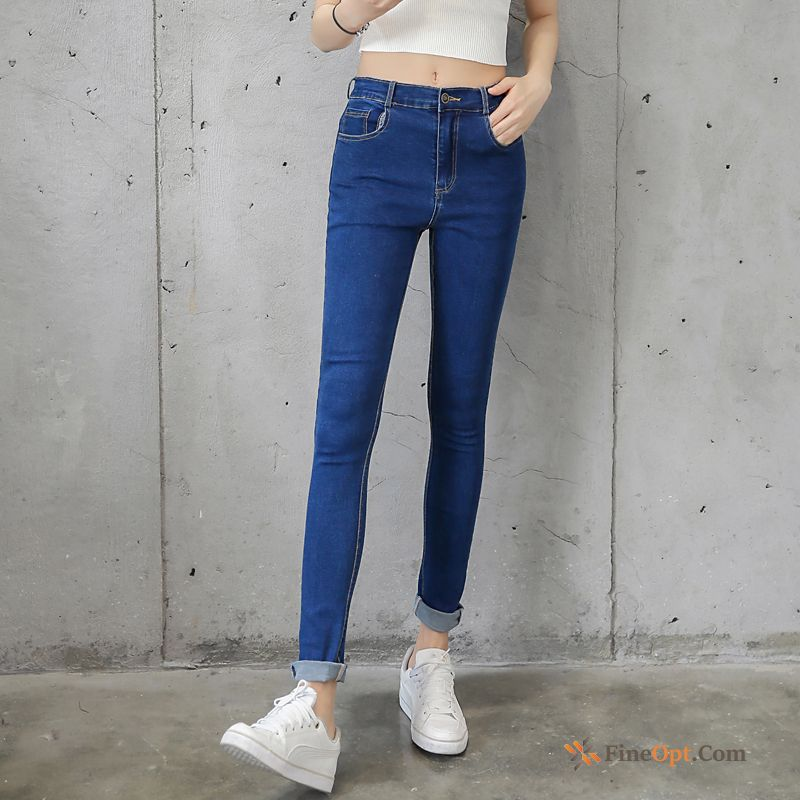 High Waist Student Jeans Holes Ninth Pants Europe Spring Sale