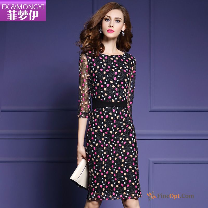 High-end Thin New Autumn Slim Embroidery Elegant Dress Sale
