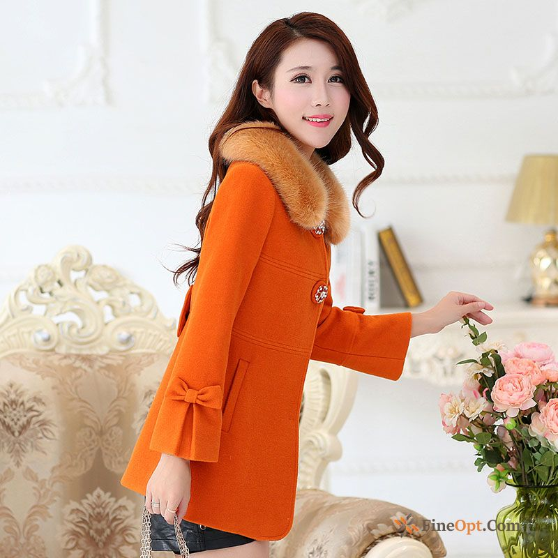 High-end Woolen Wollen Fabric Lady Coat Slim Fur Collar Coat
