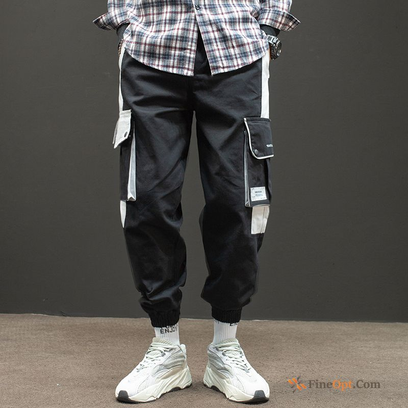 Hip Hop Tight Multi-pocket New Contrast Color Spring Pants Cargo Pants