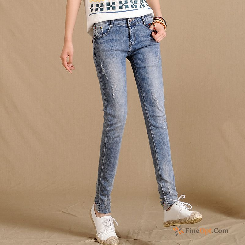 Holes Thin Pants Middle Waisted Elasticity New Trend Jeans