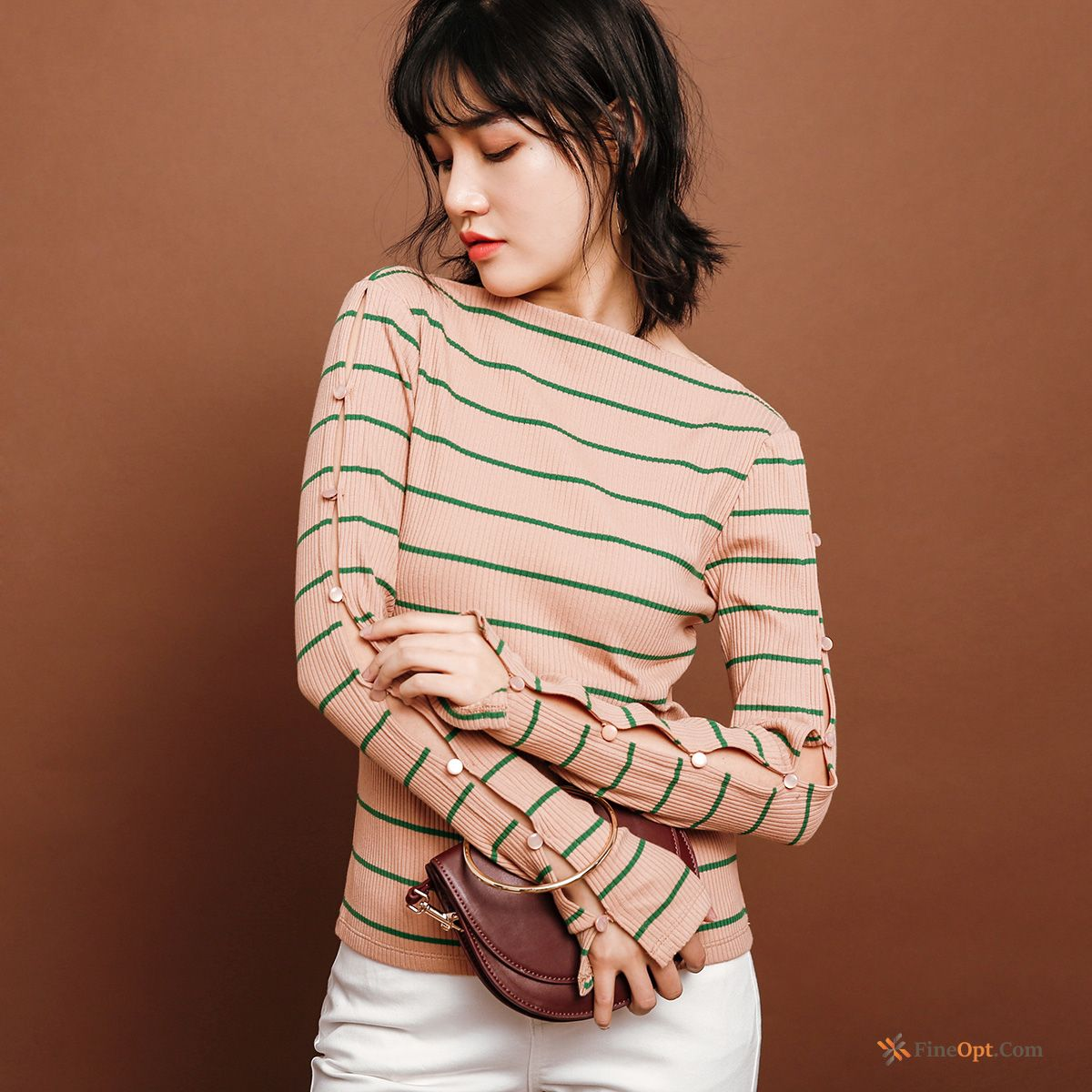 Hollow T-shirt Long Sleeves Stripes Slim Button Spring Pale Purple T-shirts Online
