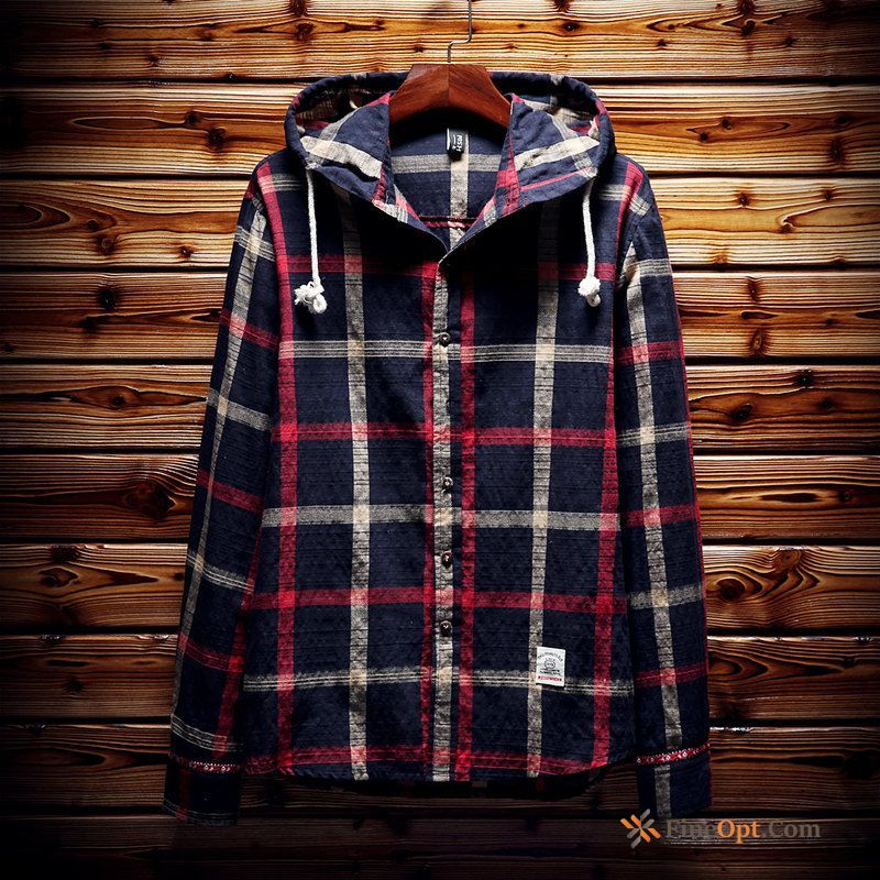 Hooded Large Size Shirt Checks Men's Slim Long Sleeves Shirts For Sale