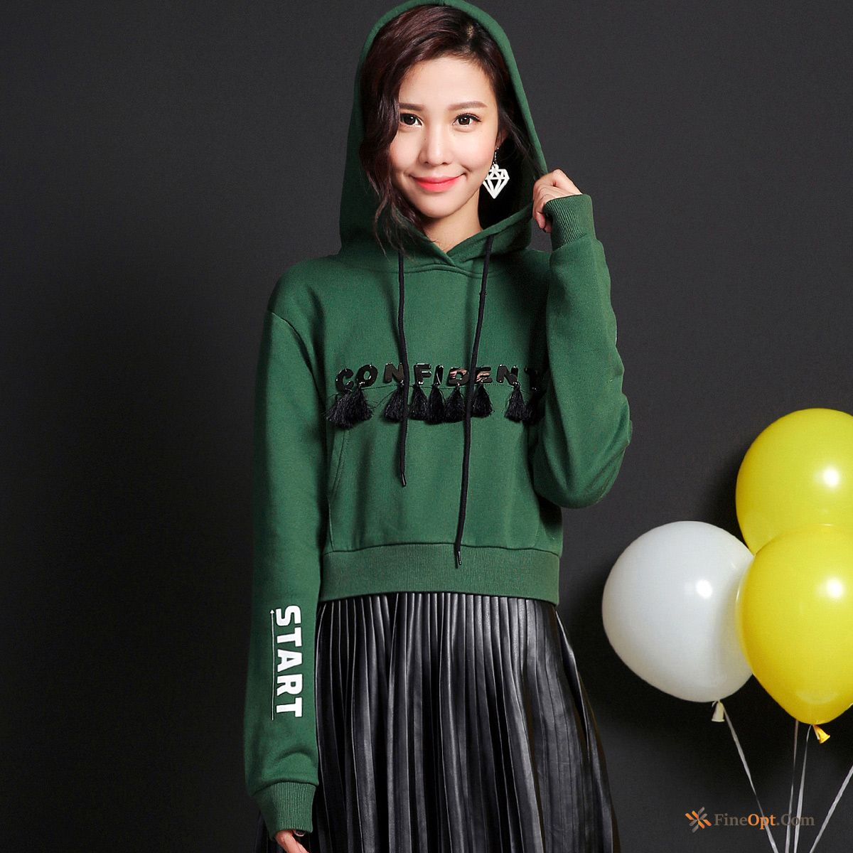 Hoodies Winter Clothes Flower Hooded Printing New Splicing Hoodies