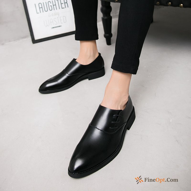 Increased Black Breathable Trend Pointed Toe Summer Leather Shoes Online
