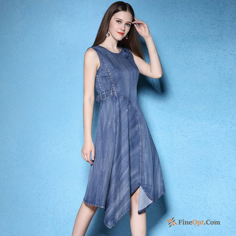 Irregular Denim New Big Belt Summer High Waist Dress