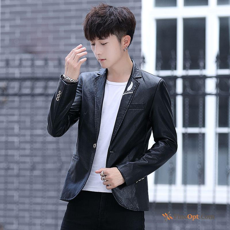 Jacket Coat Short Handsome Black Autumn Spring Leather Jacket