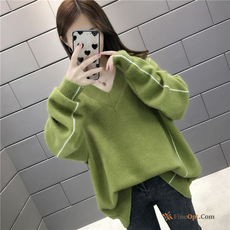 Knitwear Sweater Thickening V-neck Sweater Winter Autumn Coat Breen Discount