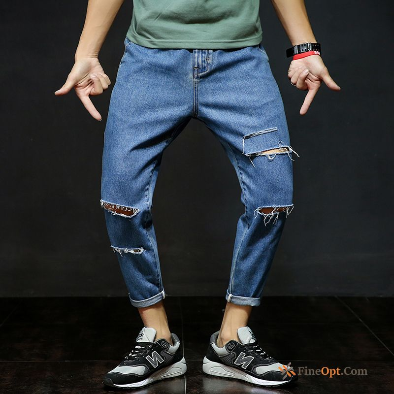 Large Size Europe Holes Retro Men's Harlan Pants Jeans Online