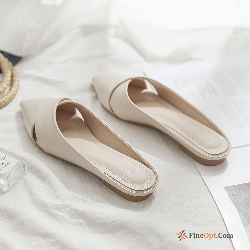 Lazy Mesh Flat Pointed Toe Summer Outwear Slippers Slippers
