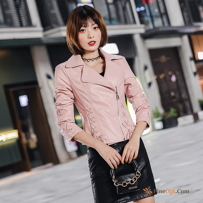 Leather New Slim Pink Pu Fashion Autumn Snow-white Leather Jacket