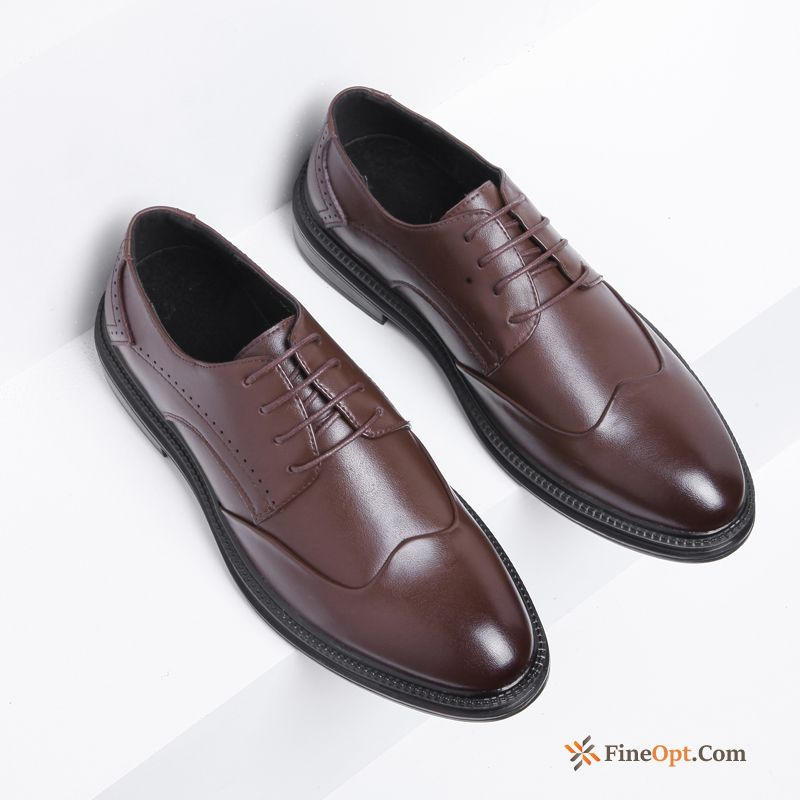 Leather Shoes Casual Trend Brown Men's Business New