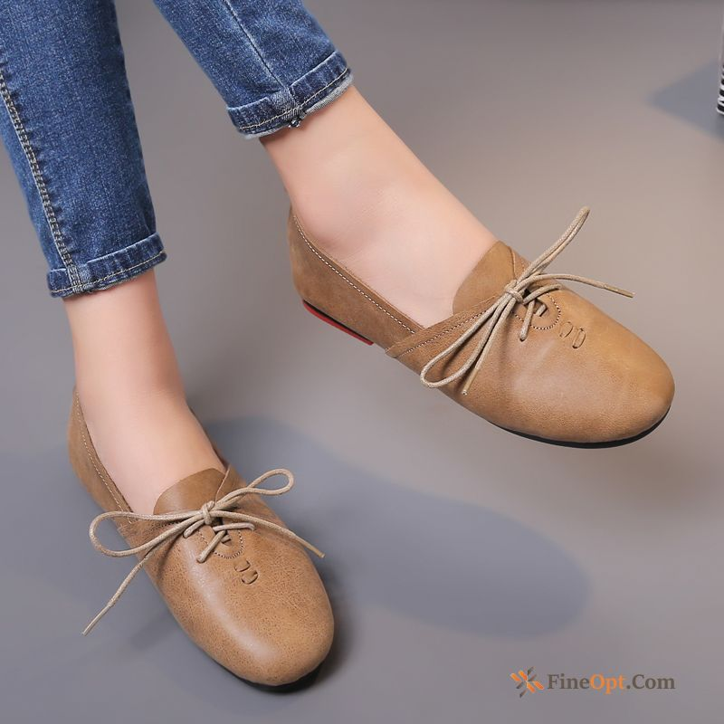 Leather Shoes New Flat Soft Sole Casual Lace-up Genuine Leather Lavender For Sale