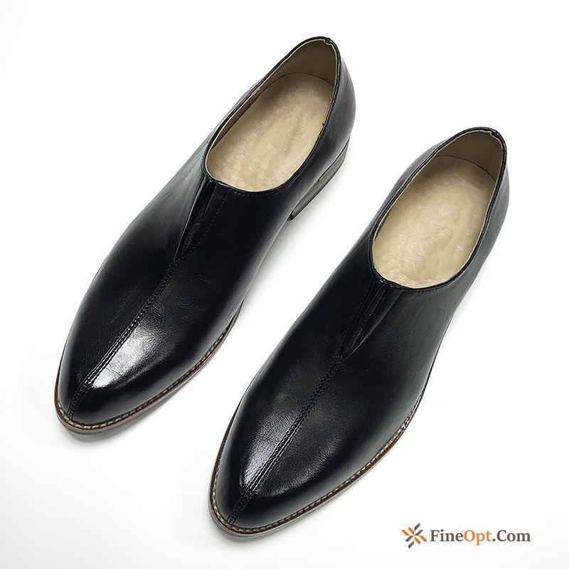 Leather Shoes Pointed Toe Slip-on British Fashion Casing Black For Sale