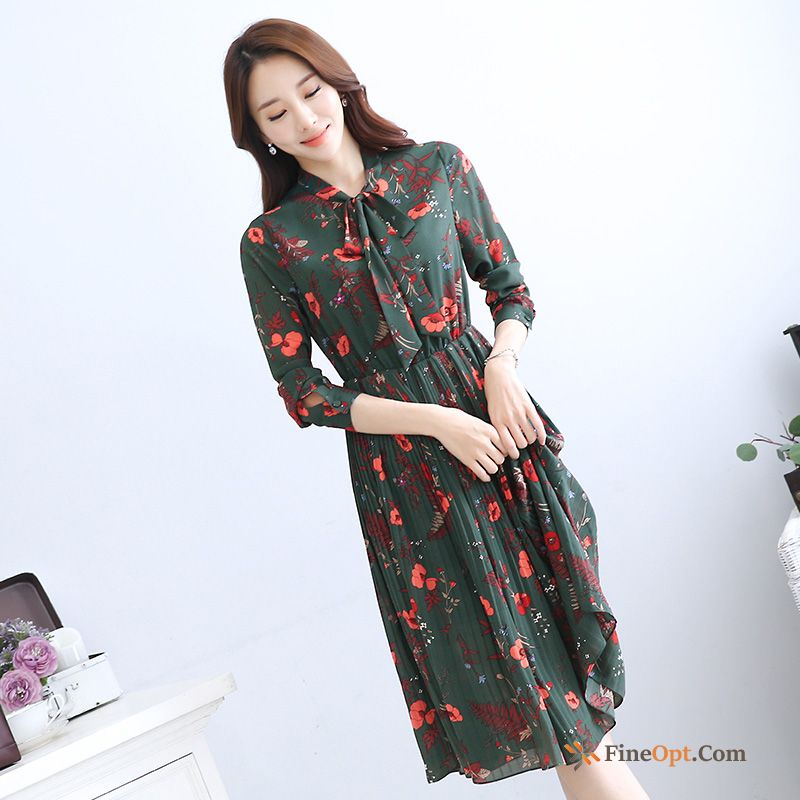 Leggings New Spring Europe Floral Printing Chiffon Dress