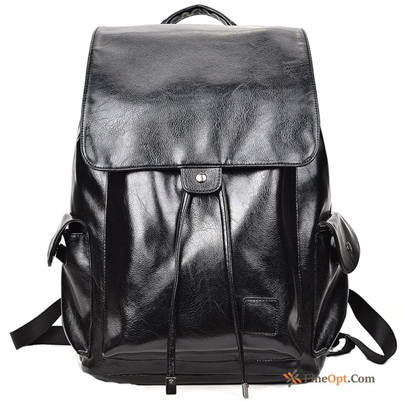 Leisure Black Backpack Travel Bag Fashion Pu Leather Men Backpack For Sale