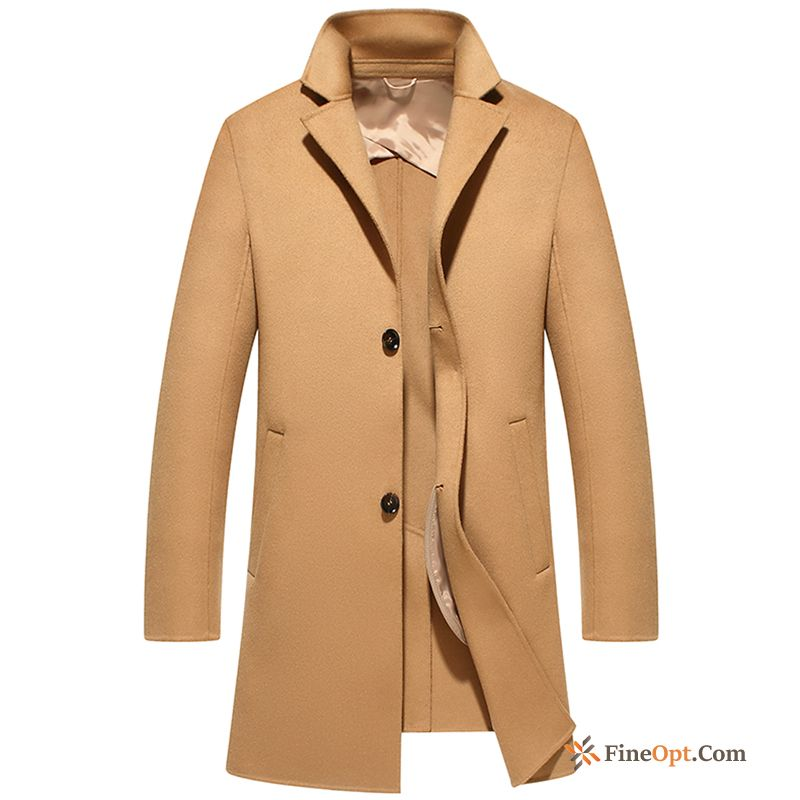 Leisure Sided Overcoat Men's Winter Cashmere Long Tan Coat
