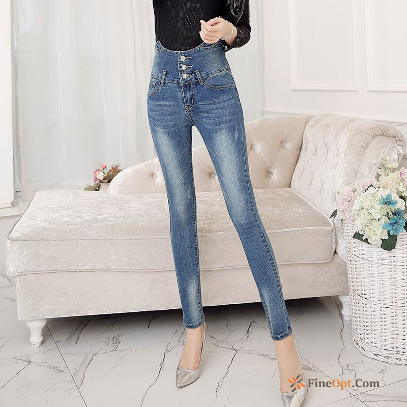 Light Trend Trousers Sort Buttons Jeans Spring Slim Snow-white Sale