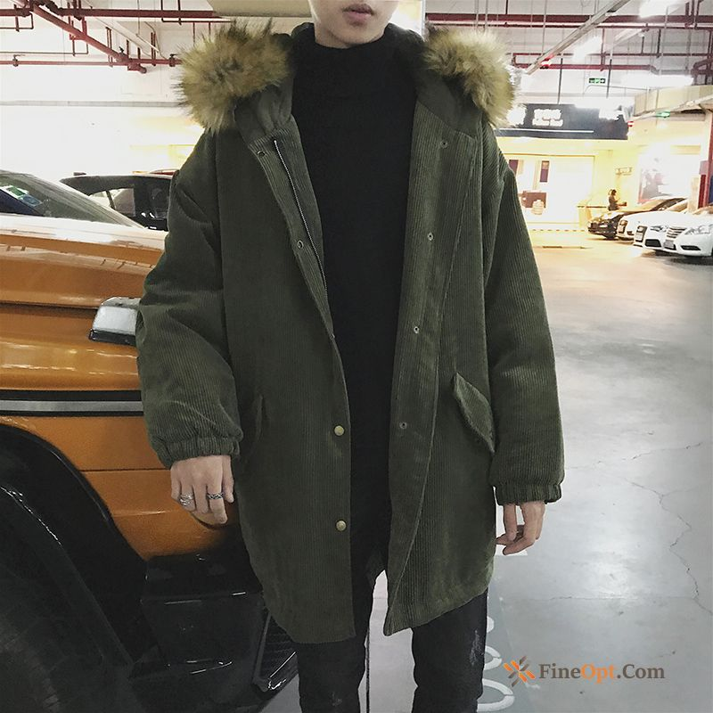 Long Large Size Winter Big Fur Collar Military Green Cotton Europe Cotton Jacket For Sale