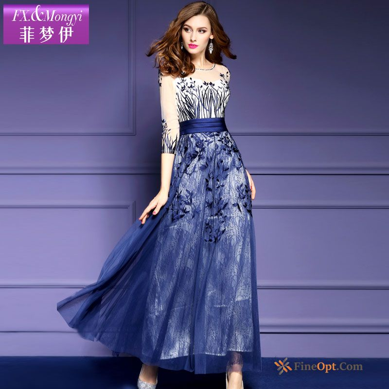 Long Skirt Lady Lace Big Spring Net Yarn Embroidery Dress Sale