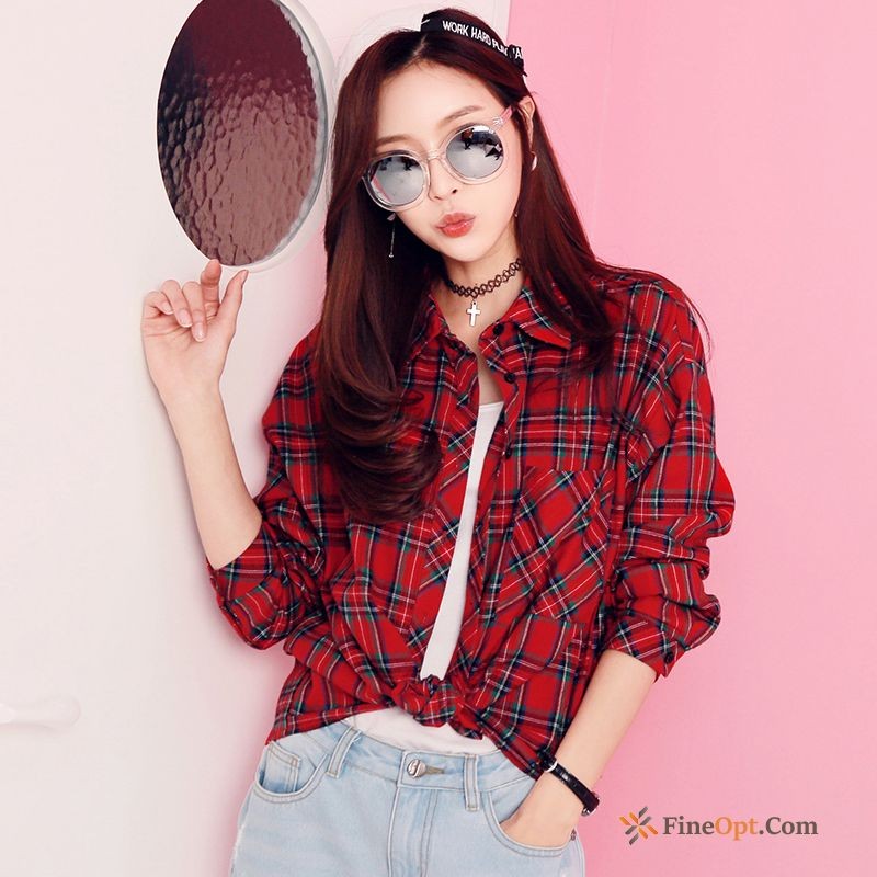 Long Sleeves Blouse Street Cotton Loose Red Checks Blouse Online