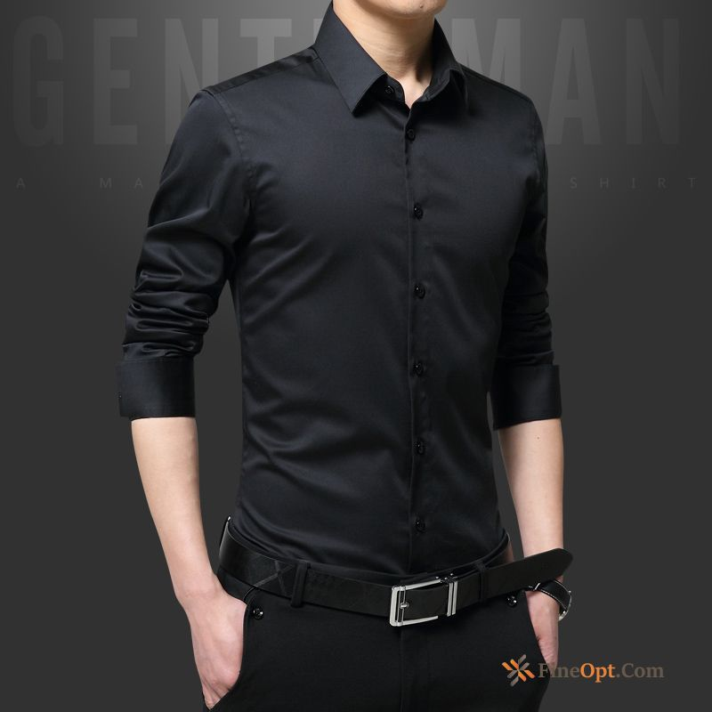 Long Sleeves Cotton Shirt Europe Youth Skinny Silk Shirts