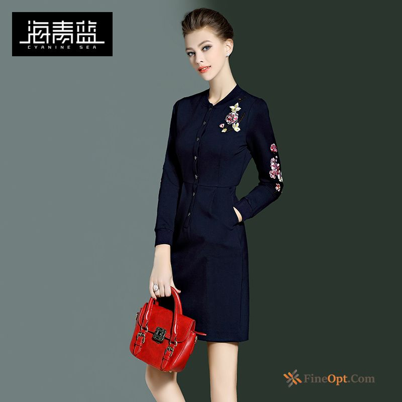Long Sleeves Embroidered Temperament Fashion Spring Slim New Dress Online