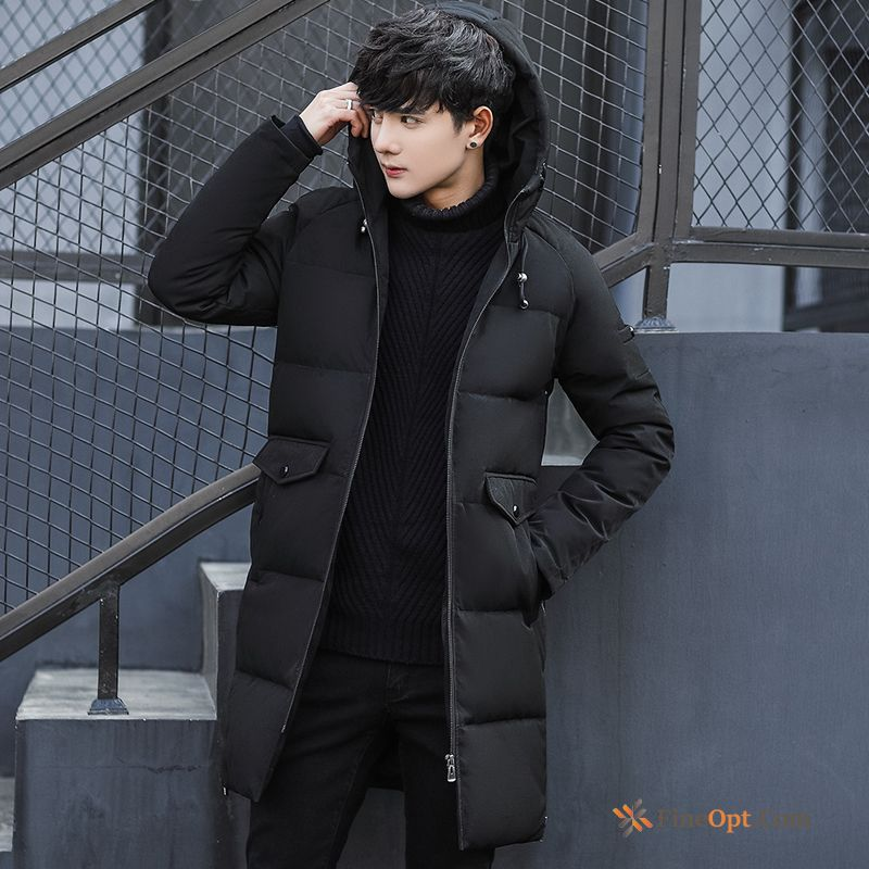 Long Thickening Europe Slim Men's Hooded Down Jacket For Sale
