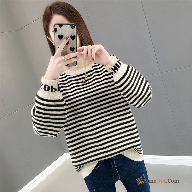 Loose Autumn Round Neck Stripes Europe Knitting Sweater Pure White For Sale