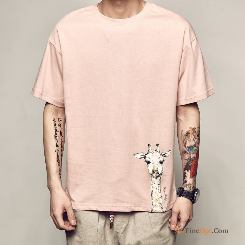 Loose Cartoon Red Flower Pink Men's New T-shirts