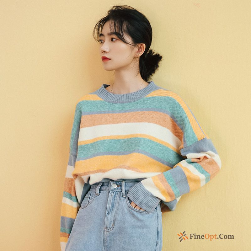 Loose Coat Student Color Stripes Thin Round Neck Mauve Sweater Discount