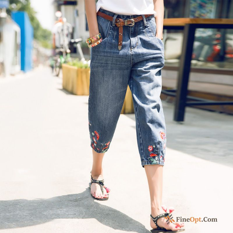 Loose Jeans Spring Pants Cropped Trousers New Embroidery