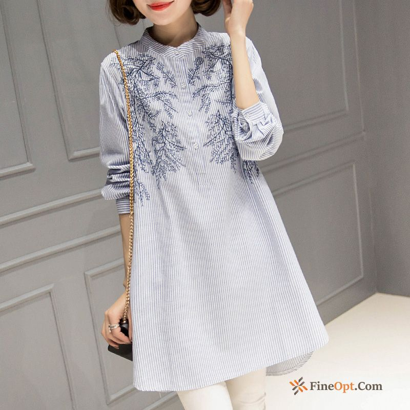 Loose Linen Sleeve Embroidery Europe Spring Thin Sallow Blouse For Sale