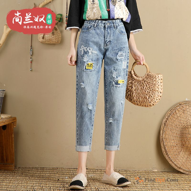 Loose Thin Summer Jeans Blue Holes Harlan