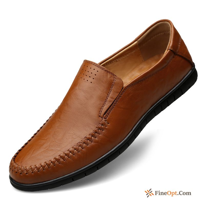 Men's Leather Shoes Casual Genuine Leather Top Leather Brown Loafers Snow-white