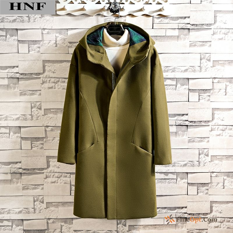 Men's Military Green Hooded Handsome New Autumn British Pearl White Coat Online