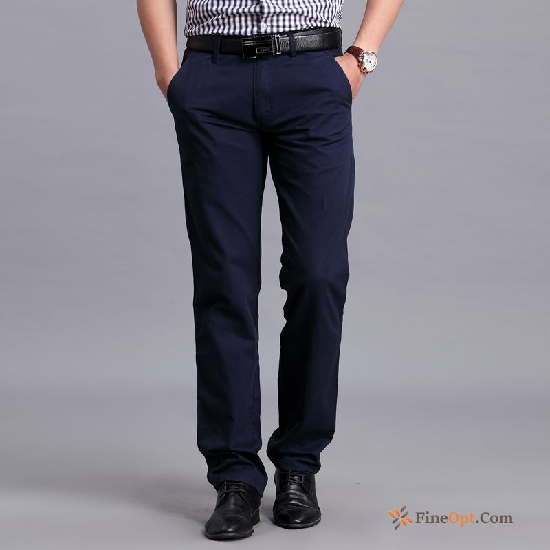 Men's Pure Straight Leisure Pants Trousers New Pants Discount