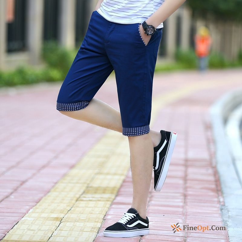 Men's Skinny Blue Cropped Trousers Shorts Europe Slim Online